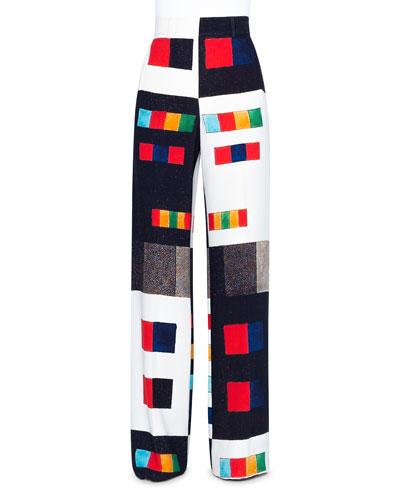 Colorama Crepe Wide Leg Pants