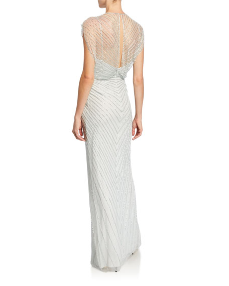 Jenny Packham Amelie Sequined Knotted Chiffon Gown