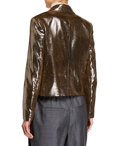 Brunello Cucinelli Sparkling Napa Leather Jacket