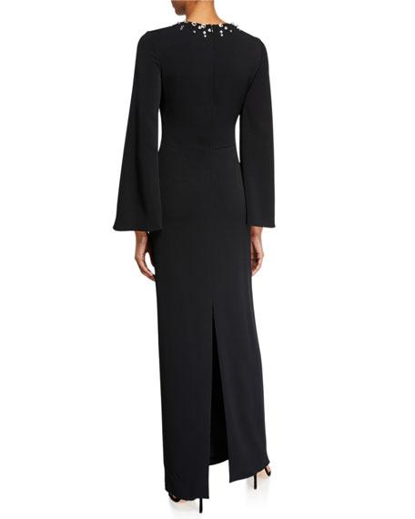 Jenny Packham Otile Embellished Long-Sleeve Sheath Gown