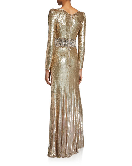 Image 2 of 2: Lexie Sequined V-Neck Gown