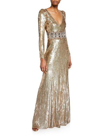 Image 1 of 2: Lexie Sequined V-Neck Gown