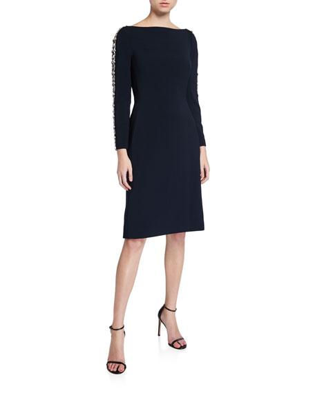 Jenny Packham Marnie Boat-Neck Dress with Embellished-Sleeve