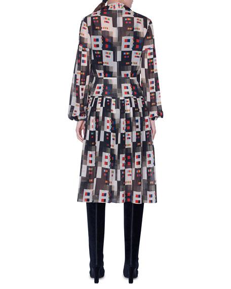 Akris Colorama Print Floaty Tie-Neck Dress