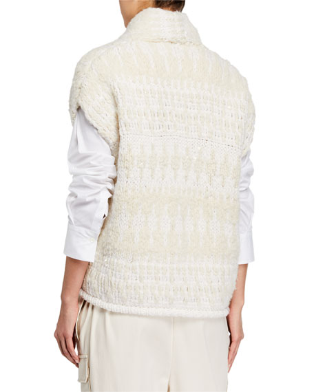 Brunello Cucinelli Cashmere Sequined Opera-Knit Sleeveless Sweater