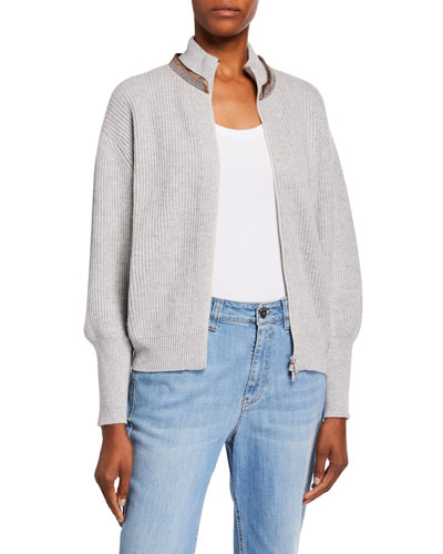 Cashmere English-Ribbed Zip-Front Cardigan
