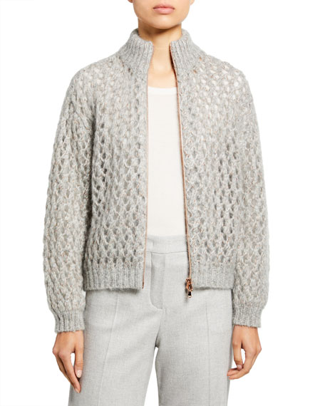 Brunello Cucinelli Mohair-Cashmere Zip-Front Cardigan