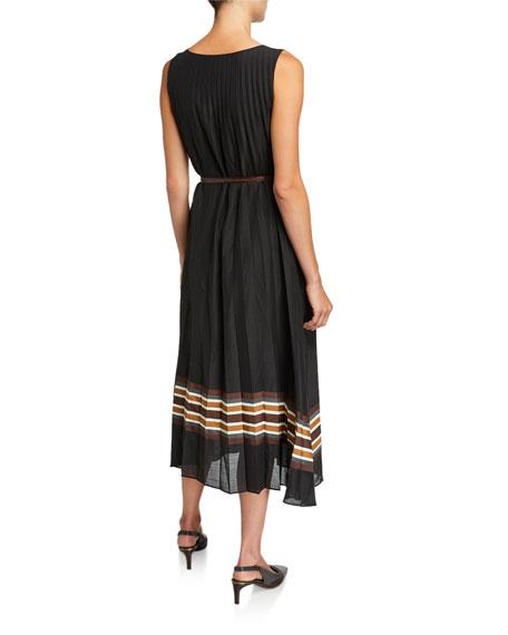 Brunello Cucinelli Pleated Striped-Border Dress