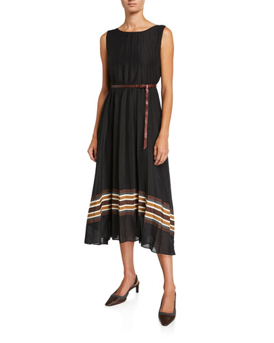 Pleated Striped-Border Dress