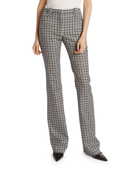 Altuzarra Plaid Wool High-Rise Flare Pants