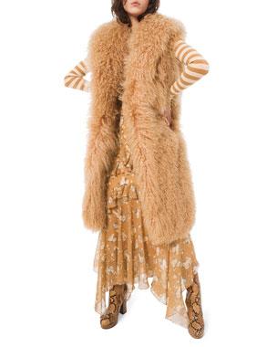 Michael Kors Collection Long Mongolian Fur Vest