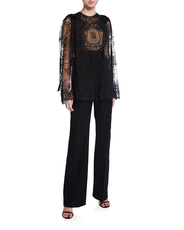 Enkei Lace Bodice Straight Leg Jumpsuit by Zuhair Murad