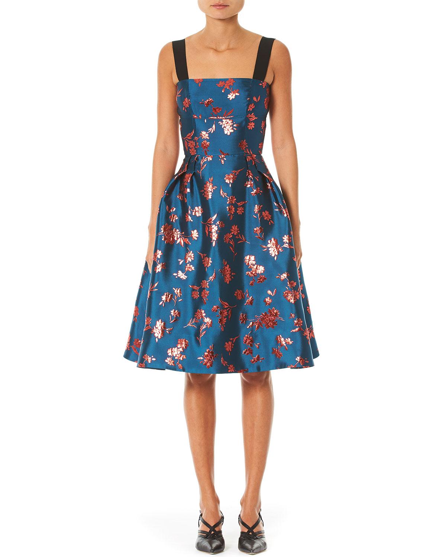 metallic-floral-brocade-a-line-dress by carolina-herrera