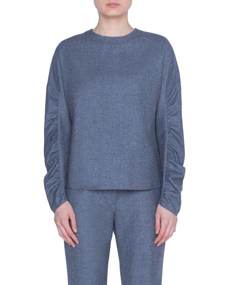 Akris punto Wool Ruched-Sleeve Crewneck Blouse