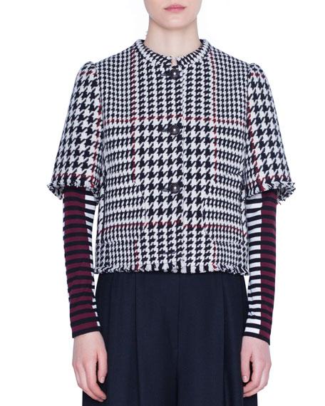 Akris punto 1/2-Sleeve Glen-Check Snap-Front Jacket