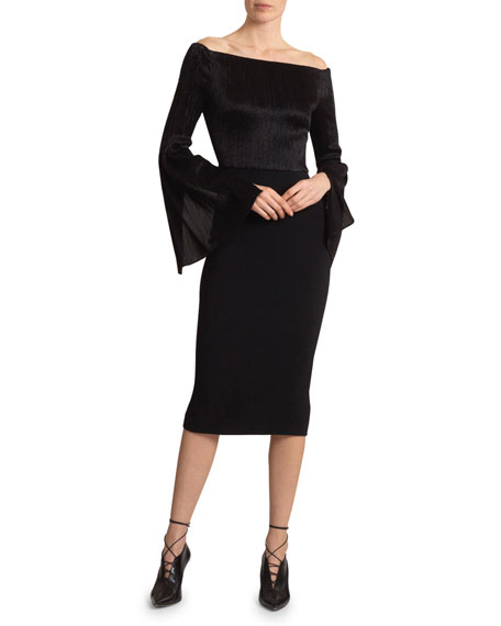 Roland Mouret Anina Metallic Plisse Dress