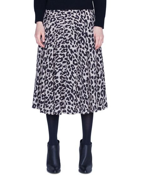 Akris punto Leopard Print Wool Knee-Length