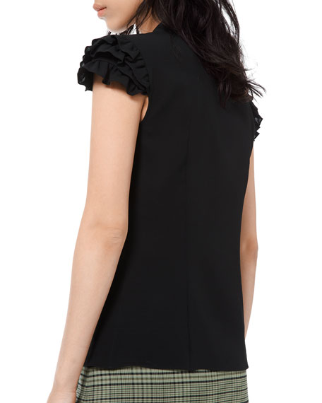 Michael Kors Collection Silk Georgette Mini Ruffle Sleeve Dress