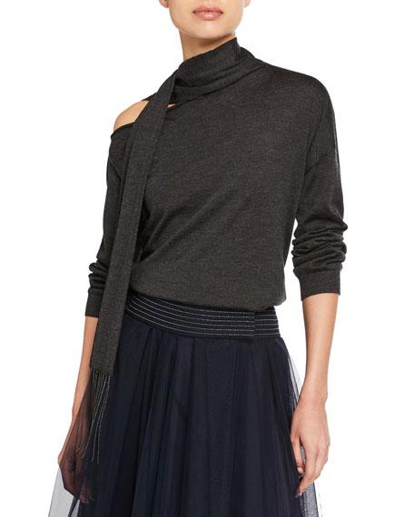 Brunello Cucinelli Cashmere One-Shoulder Scarf-Neck Sweater