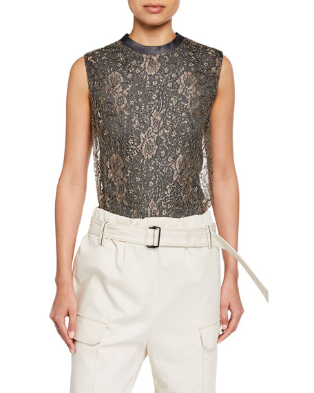 Brunello Cucinelli Sleeveless Metallic Lace Top