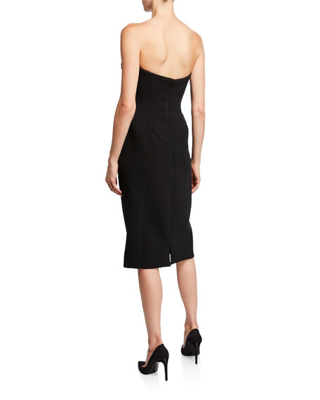 Zac Posen Strapless Crepe Cocktail Dress with Stitching