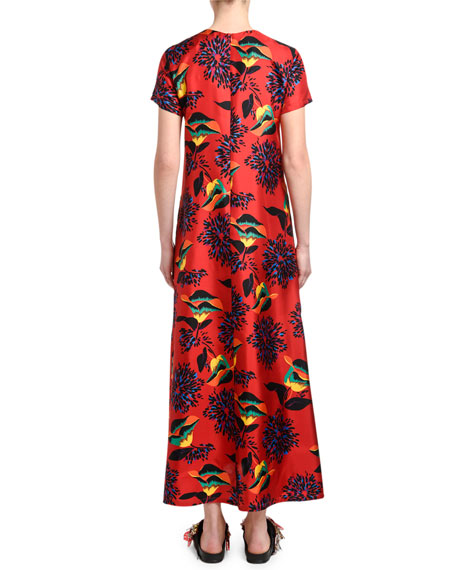 Double J Floral-Print Silk Swing Dress