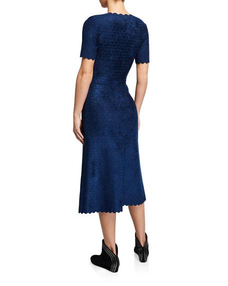 ALAIA Velvet Embossed Scalloped Dress