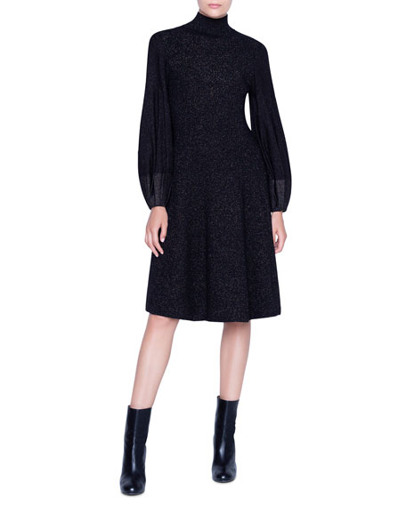 Akris Dresses SHIMMERED WOOL-CREPE BLOUSON SLEEVE DRESS