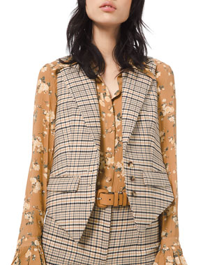 Michael Kors Collection Plaid Stretch Wool Vest