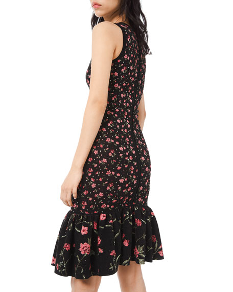 Michael Kors Collection Embellished Floral-Print Jersey Flounce Dress