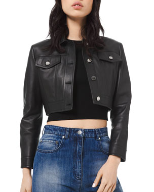 Michael Kors Collection Cropped Leather Jacket