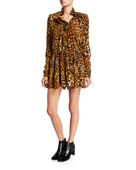 Saint Laurent Animal-Print Full Sleeve Mini Dress