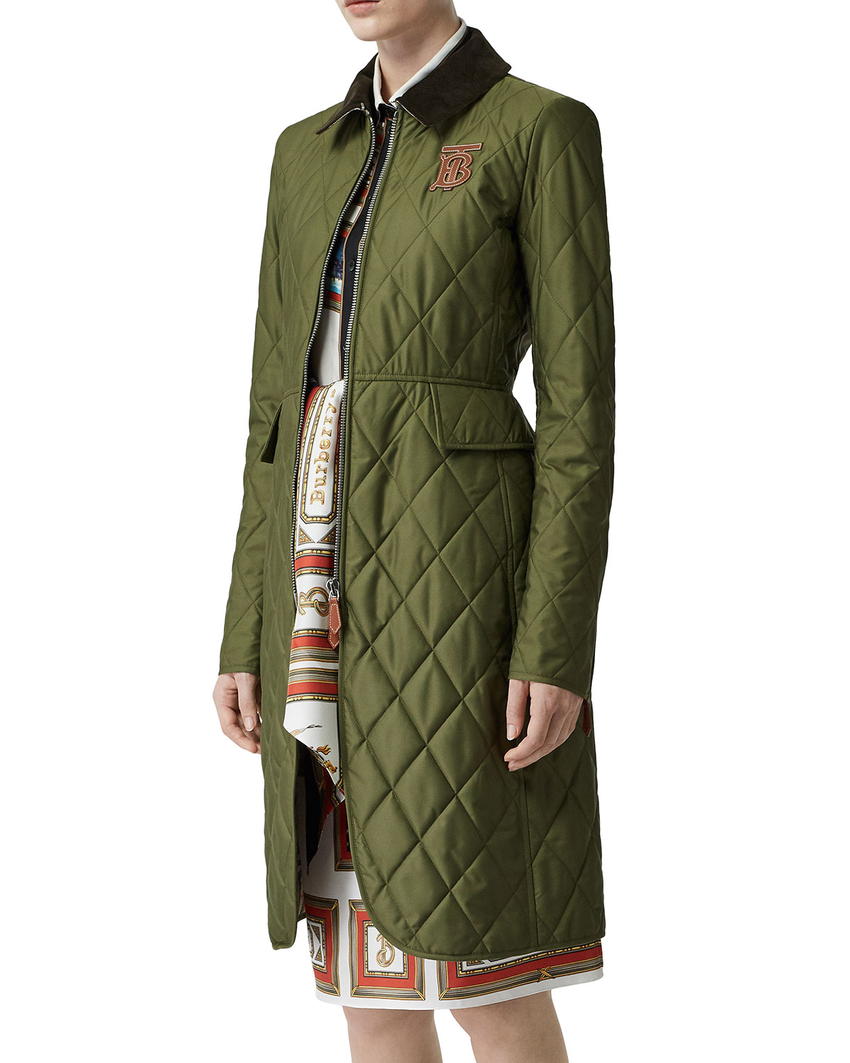 Midi Length Equestrian Quilted Coat by Burberry