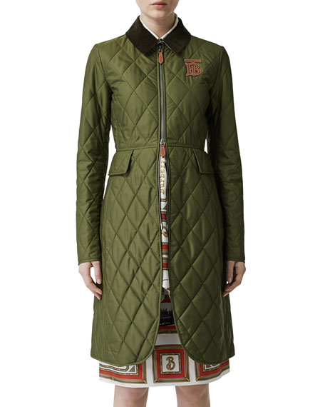 Burberry Midi-Length Equestrian Quilted Coat