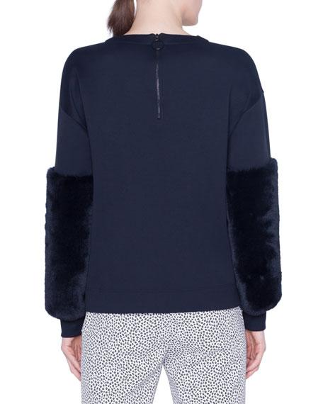 Akris punto Faux-Fur Trimmed Neoprene Sweatshirt