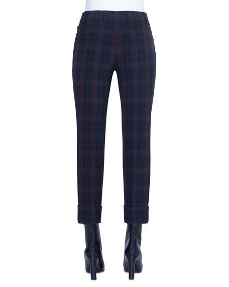 Akris Plaid Flat-Front Cuffed Pants