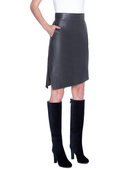 Akris Asymmetric Napa Leather Pencil Skirt