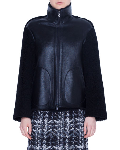 Akris punto Lamb Fur Stand-Collar Jacket
