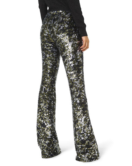 Image 2 of 2: Camo Sequined Flare Pants