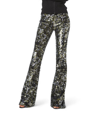 Michael Kors Collection Camo Sequined Flare Pants