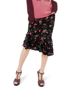 9c807b66f14d Michael Kors Collection Stemmed Floral Crepe de Chine Rumba Skirt