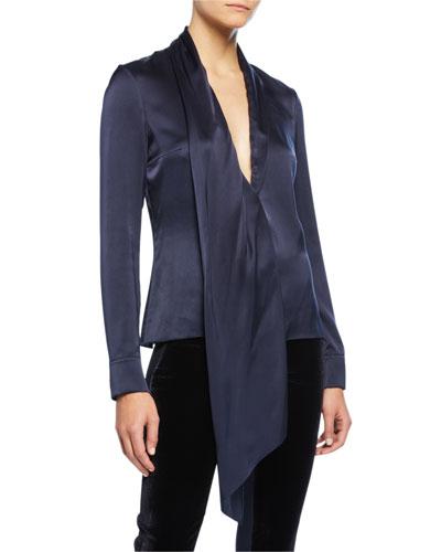Silk Long-Sleeve V-Neck Blouse