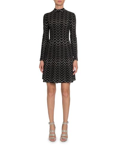 Squiggle Mock-Neck Half-Zip Long-Sleeve A-Line Dress
