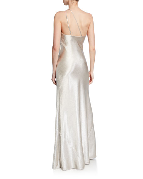 Galvan Roxy Metallic Satin One-Shoulder Gown