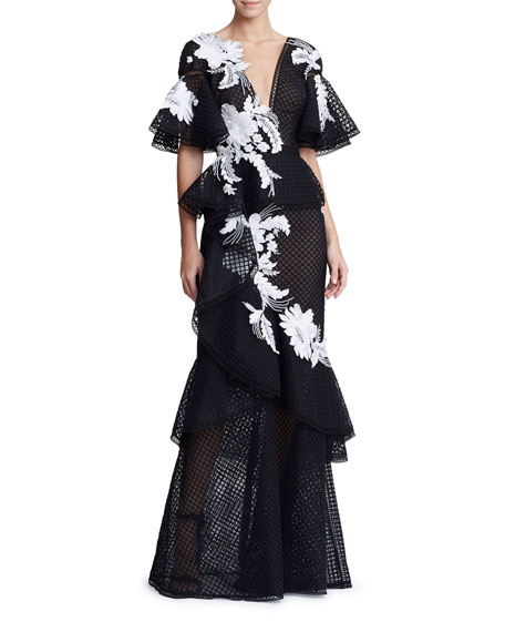 Marchesa Floral Grid-Embroidered Gown