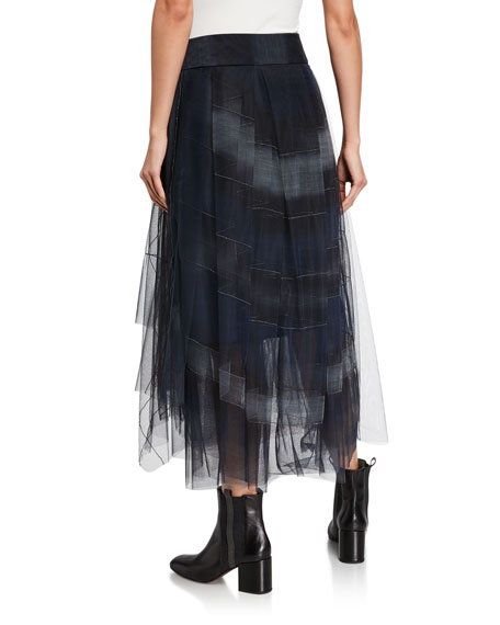 Brunello Cucinelli Faux-Wrapped Tiered Tulle Skirt