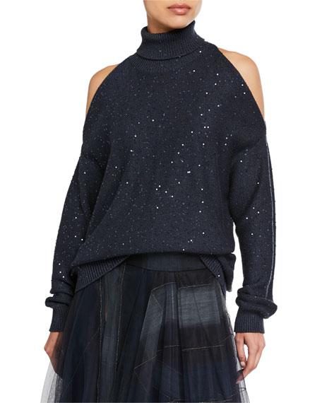 Brunello Cucinelli Sequin Cold-Shoulder Cashmere/Silk Turtleneck Sweater