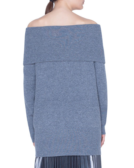 Akris punto Carmen Off-the-Shoulder Wool-Cashmere Sweater