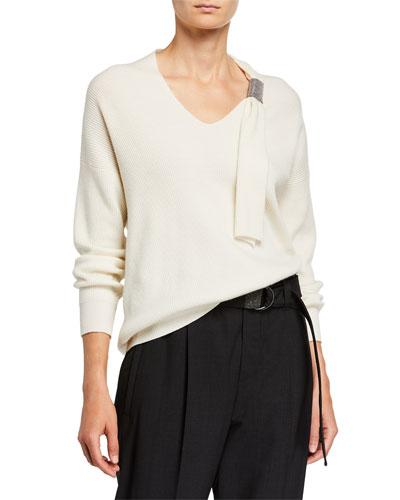 Cashmere Monili-Beaded V-Neck Sweater
