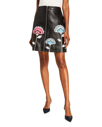 Floral-Embroidered A-Line Leather Skirt